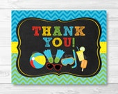 Cute Pool Party Thank You Card / Pool Party Birthday / Boys Pool Party / Chalkboard / Folded Card Template / PRINTABLE Instant Download A333
