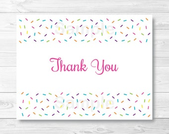 Baby Sprinkle Thank You Card / Folded Card Template / Baby Girl Sprinkle / Rainbow Sprinkles / PRINTABLE Instant Download A109
