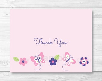 Pink Butterfly Thank You Card Folded Template PRINTABLE Instant Download