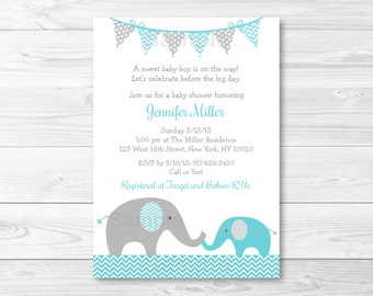 Blue Elephant Baby Shower Invitation / Elephant Baby Shower / Teal Elephant / Gender Neutral / PRINTABLE