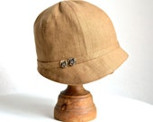 1920s Linen Cloche with Vintage Shell Buttons - Made to Order - 3 WEEKS FOR SHIPPING