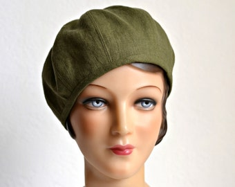 Women's Beret in Green Linen with Bamboo Jersey Lining - Made To Order -  3 WEEKS FOR SHIPPING