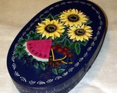 Hand Painted Shaker Style Wooden Summertime Decorative Box - Watermelons - Sunflowers - Berries - Home Decor - Folk Art - Storage Container