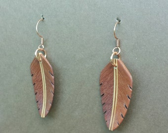Handcarved Brazilian Redwood and Maple Wood Leaf / Feather Earrings  J150514