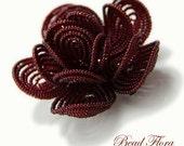 Royal Crimson French beaded flower hair clip, brides bridesmaids hair flower