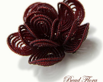 Royal Crimson French beaded flower hair clip, brides bridesmaids hair flower