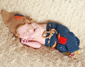 Crochet Baby Scarecrow Pants and Hat, Fall Baby Photo Prop, You pick size, Ready to Ship