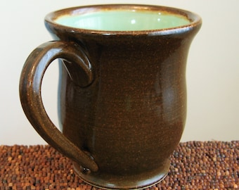 Pottery Beer Stein or Coffee Mug in Mint Chocolate - Large Stoneware Ceramic Pot Bellied Ceramic Cup 18 oz