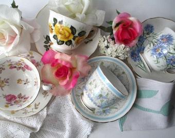 Vintage Mismatched Floral Teacup Collection Royal Vale Royal Chelsea Tuscan Bone China Set of Four
