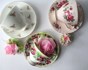 Vintage Teacups and Saucers Tea Party Floral Collection of Three