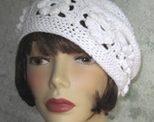 Crochet Hat Pattern Womens Summer Beret With Flower Band Multi Sized Instant Download