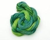 Hand dyed cotton perle 5 embroidery thread - dark blue green, forest, light green, apple, mercerised cotton yarn, 20 metre (22 yard) skein