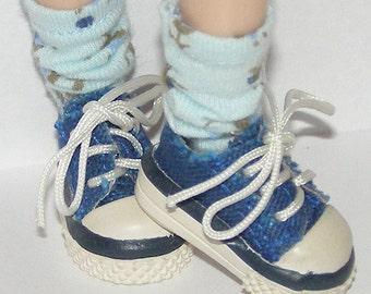 Short Blue Flower Socks for Blythe...