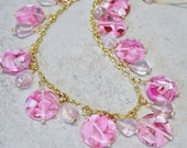 Gold Chain Beaded Pink Necklace,Pink Resin Shell Beaded Necklace,Cherry Quartz Bead Necklace,Pink Necklace,Beaded Gold Chain Necklace