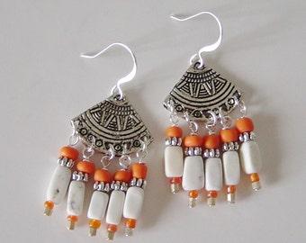 Silver Beaded Chandelier Earrings, White Magnesite Bead Earrings, Silver Fan Earrings, Orange Glass Beaded Earrings, Boho Earrings