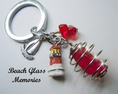 Keyring Beach Glass  Purse Fob Red Sea Glass Keychain Jewelry for Your Keys