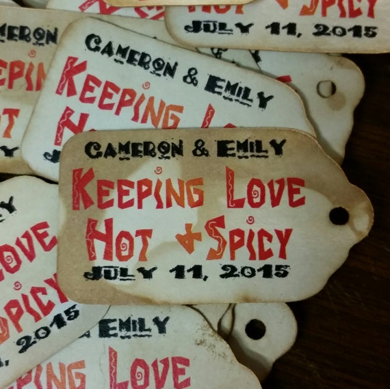 """Keeping Love Hot & Spicy 100 SMALL 2"""" Personalized Favor Tags Thank you Favor"""