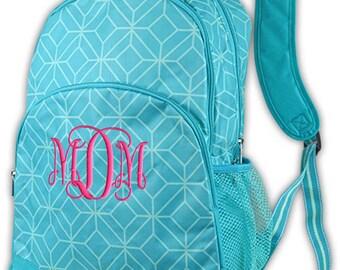 Personalized Backpack Aqua Geo Monogrammed School Girls Bookbag