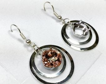 Dangle Earrings 10mm 4470 Swarovski Setting Earrings Shiny Silver Plated TR3SP)
