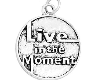 3x (20mm x 24mm) Silver Plated Live In The Moment Charms