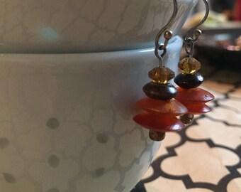 Orange disk bead earrings