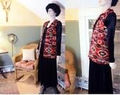 Vintage Tapestry Kilim Carpet Vest Coat Jacket Blanket 80s 60's-70s vibe boho hippie Navajo Southwestern Festival lined INC US SHIPPING