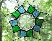 5 Pointed Star with Vintage Plate in Blue and Green (Clearance)