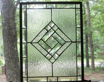 Stained Glass Panel, Clear with Beveled Center & Beveled Border