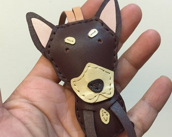 Special Offer - Ready Stock - Small size - Biggy the Miniature Pinscher cowhide leather bagcharm ( Dark Brown )