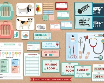 Pretend play bumper Printable Vets, animal doctor veterinary clinic Activity role play set for class, school or home school.