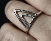 Double triangle stacking ring - stackable ring - hammered ring - simple band - minimalist