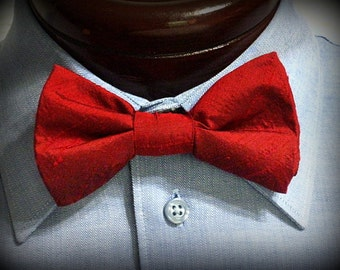 red silk look mens bow tie, pre-tied bow tie,  2 for 25, adjustable neck bow tie