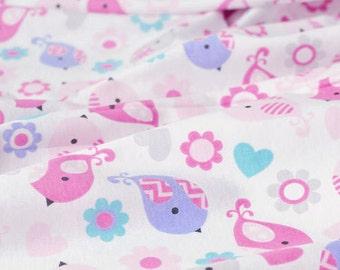 4017 - Bird Flower Heart Cotton Jersey Knit Fabric - 66 Inch (Width) x 1/2 Yard (Length)