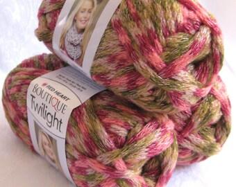 Boutique Twilight ROSE GARDEN, peach brown cream green sparkling metallic super bulky weight acrylic yarn