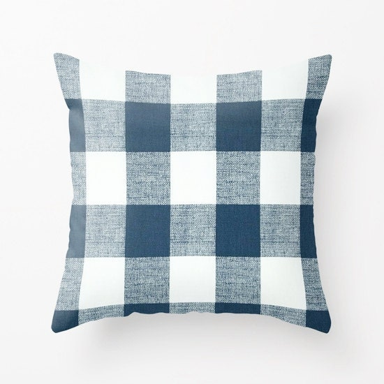 Decorative Plaid Pillows : Blue Pillow cover Plaid Pillow Cover Decorative Pillow Cover