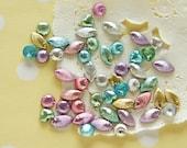 Limited Stock 50 pcs Metallic Seashell Rhinestones/ Gems (4-10mm) AA026