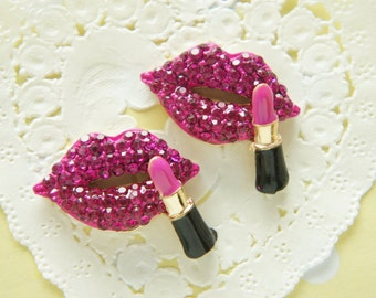 1 pc Bling Lip Kiss Mark with Lipstick (20mm32mm) Purplish Pink AZ155