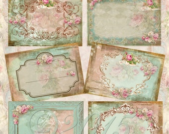 Instant Download  - Shabby Rose - ACEO - Digital Download - Printable  Digital Collage Sheet