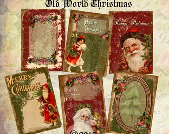 Old World Christmas - ACEO - Digital Download - Printable  Digital Collage Sheet