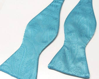 Free Style Mens Bow Tie. Turquoise Teal Blue Paisley Self Tie Bowtie With Matching Pocket Square Option