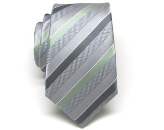 Mens Ties. JCrew Dusty Shale Green Inspired Stripe Neckties.  Wedding Neckties. Silver Gray Dusty Mint Stripe Ties. Groomsmen's Ties