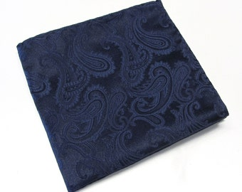 Pocket Square Navy Blue Paisley Hankie