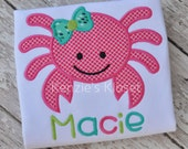 Crab appliqué shirt - Crab T-shirts - Girl Crab T-shirt  - personalized shirt  - monogrammed  - toddler - children - 12 18 2t 3t 4t 5t 6