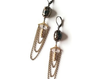 Black and Gold Earrings - Art Deco Style - Chains Earrings - Spotted - Matte Gold - Regata Earrings (SD969)