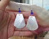 Large Capiz Shell Earrings - White and Cobalt Blue