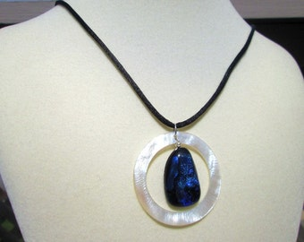 Blue Fused Glass and Shell Necklace