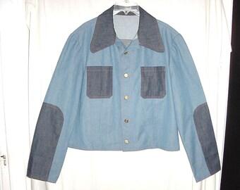 Vintage 70s Mens Two Tone Blue Handmade Jean Jacket M-L Insets