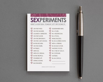 "Naughty 1st Anniversary Notepad. Notes. Sexy, Funny. Man, Woman, Him, Her, Husband, Wife, Boyfriend, Girlfriend. ""Sexperiments"" (NSN-L003)"