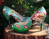 MADE TO ORDER (Any Size) Original Hand Painted Mario Wedding Heels