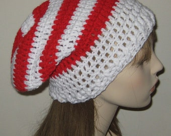 White and Red Crochet Slouchy Beanie Dread Tam Hat